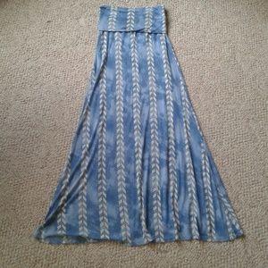 Billabong Blue & Cream Print Maxi Skirt